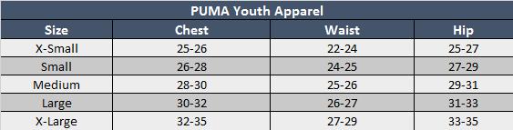 Puma Youth Apparel Sizing Chart