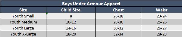 Under Armour Boys Apparel Sizing Chart
