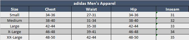 adidas donna soccer pants size chart